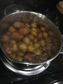 Get your water roaring and add the small potatoes
